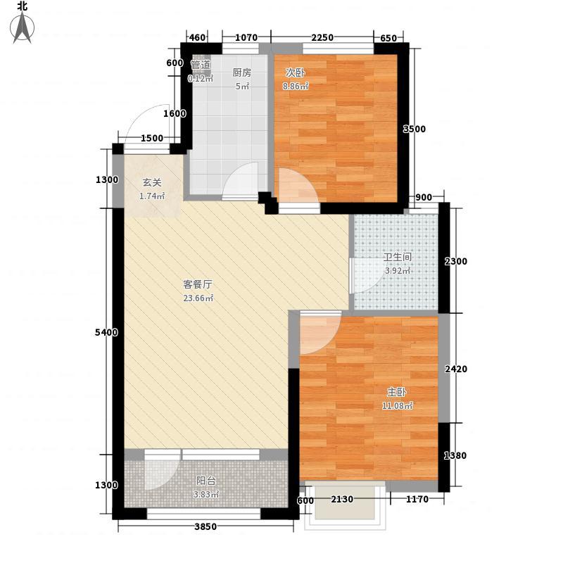 华发九龙湾中心85.00㎡A户型2室2厅1卫1厨
