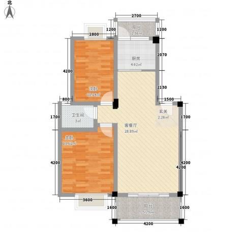 京东小区B区2室1厅1卫1厨68.68㎡户型图