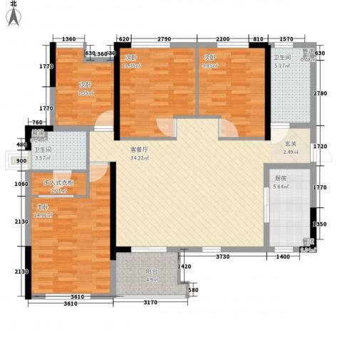 金海广场4室1厅2卫1厨149.00㎡户型图
