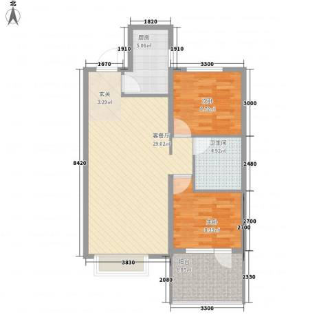博辉万象城2室1厅1卫1厨62.95㎡户型图