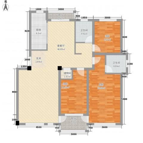 昌盛经典二期御花苑3室1厅2卫1厨139.00㎡户型图