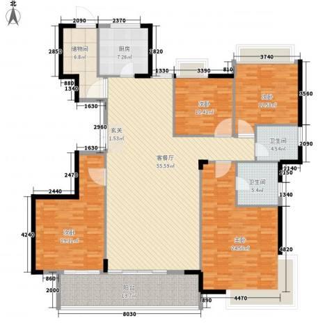 大儒世家绿园4室1厅2卫1厨220.00㎡户型图