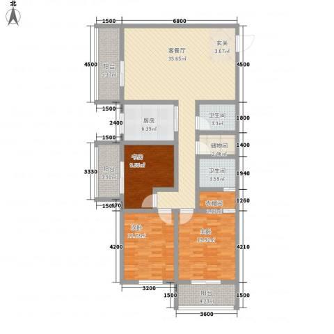 皇城美居3室1厅2卫1厨144.00㎡户型图