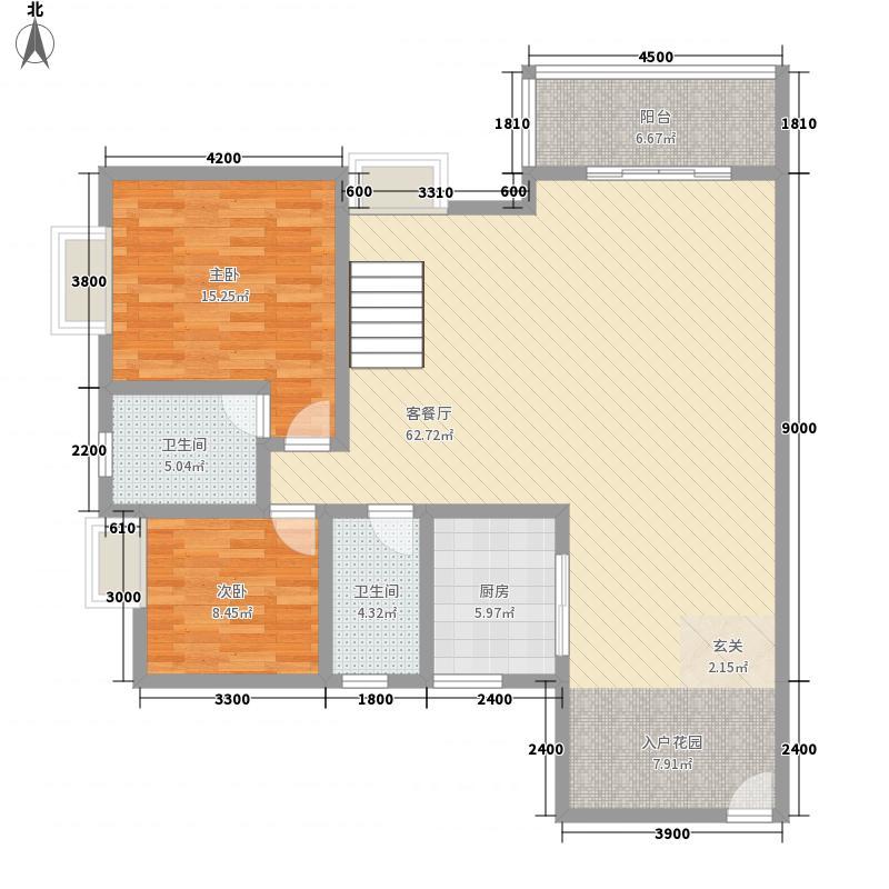湖城国际户型图11号楼A户型下层 4室2厅3卫1厨