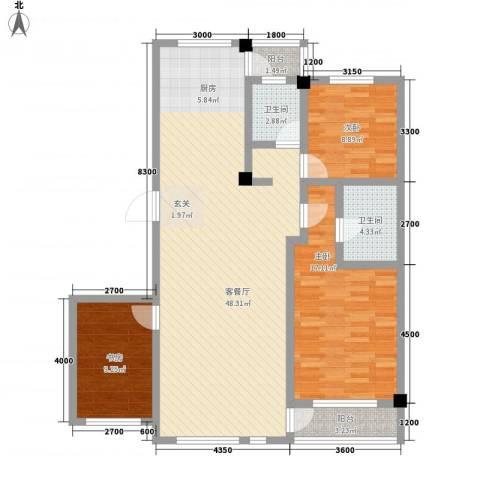 昌盛经典二期御花苑3室1厅2卫0厨121.00㎡户型图