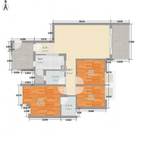 万科四季花城3室1厅2卫1厨107.00㎡户型图