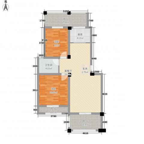 大洲城市花园2室1厅1卫1厨112.00㎡户型图