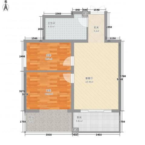 美景物资小区2室1厅1卫1厨88.00㎡户型图