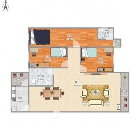月亮湾花园3室1厅2卫1厨131.00㎡户型图