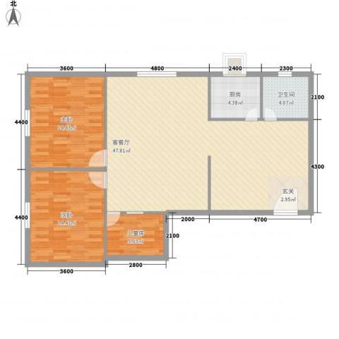 美景物资小区3室1厅1卫1厨123.00㎡户型图