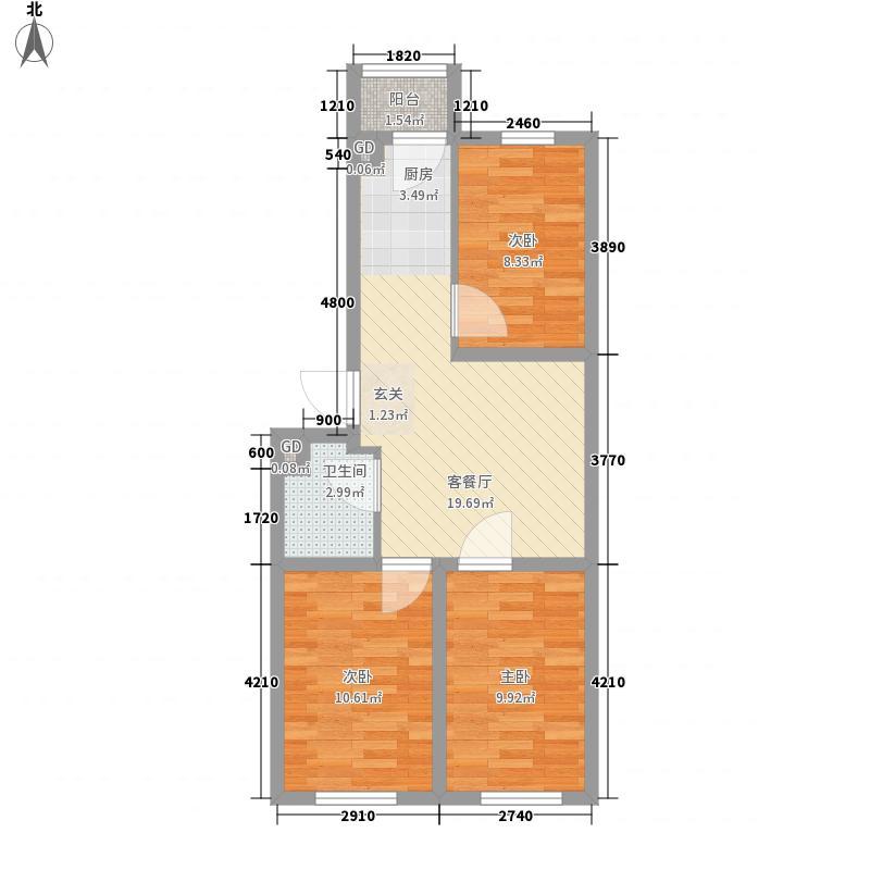 四季嘉园78.50㎡四季嘉园户型图3室2厅1卫户型10室