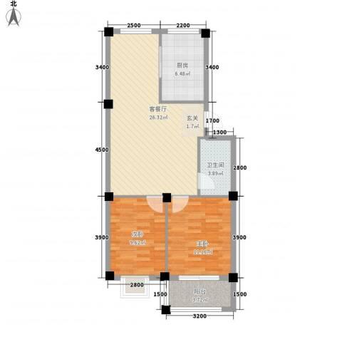 田美家园2室1厅1卫1厨86.00㎡户型图