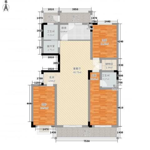 水映丽山3室1厅2卫1厨170.00㎡户型图