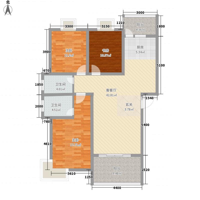 幸福家121.42㎡21\25#A户型3室2厅2卫1厨