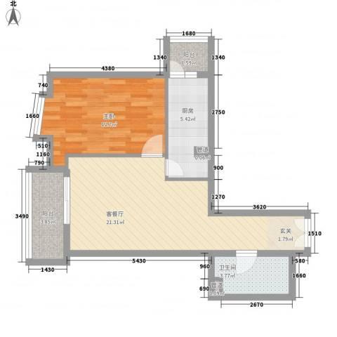 领地一期1室1厅1卫1厨69.00㎡户型图