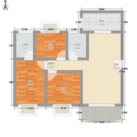 梦园小区3室1厅2卫1厨91.00㎡户型图