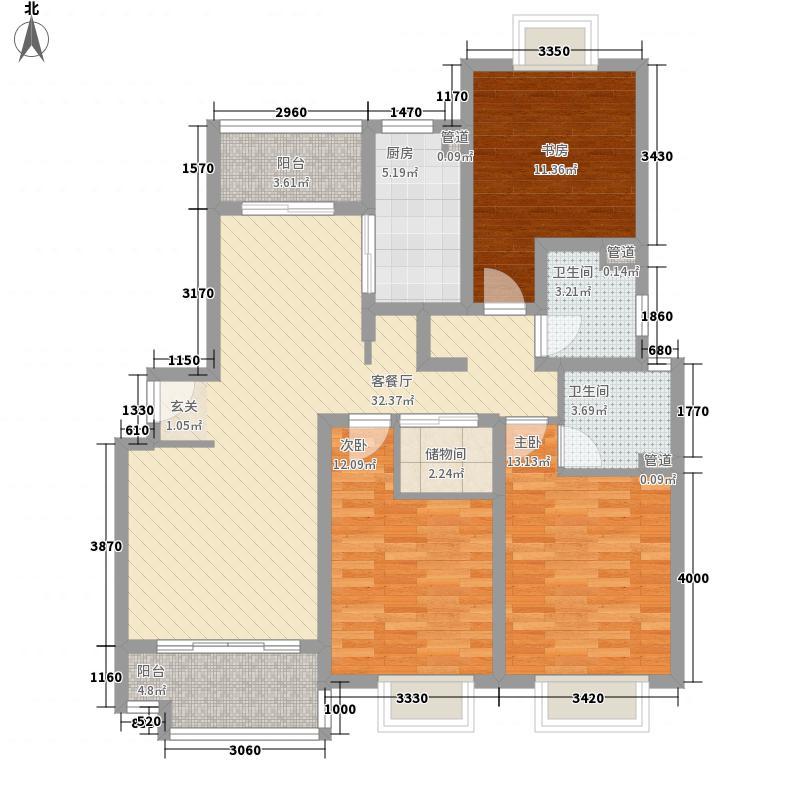大华颐和华城135.40㎡户型3室2厅2卫1厨