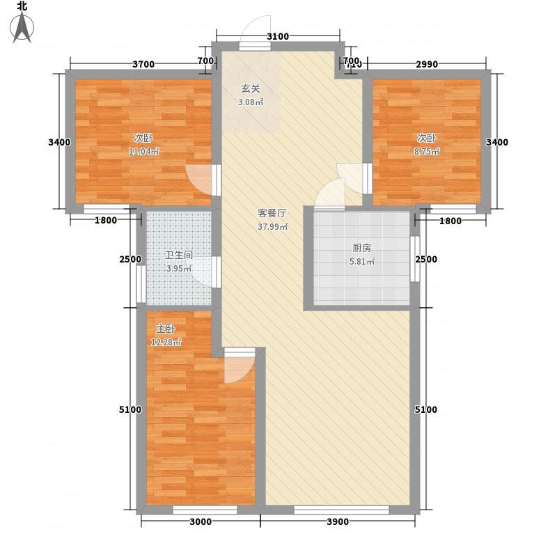 紫金名门117.23㎡C户型3室2厅1卫1厨