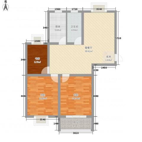 东城名苑3室1厅1卫1厨115.00㎡户型图