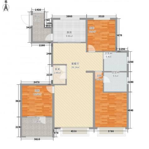 博辉万象城3室1厅2卫1厨157.00㎡户型图