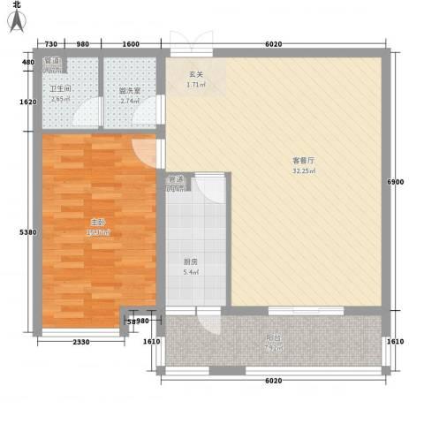 领地一期1室1厅1卫1厨88.00㎡户型图