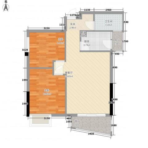 加勒比湾2室1厅1卫1厨79.00㎡户型图