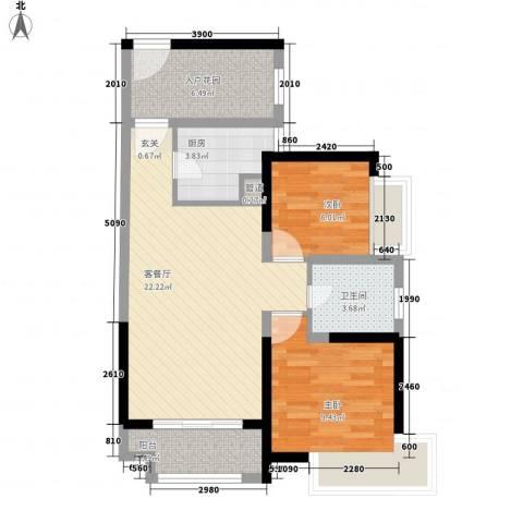 禅城绿地中心2室1厅1卫1厨86.00㎡户型图