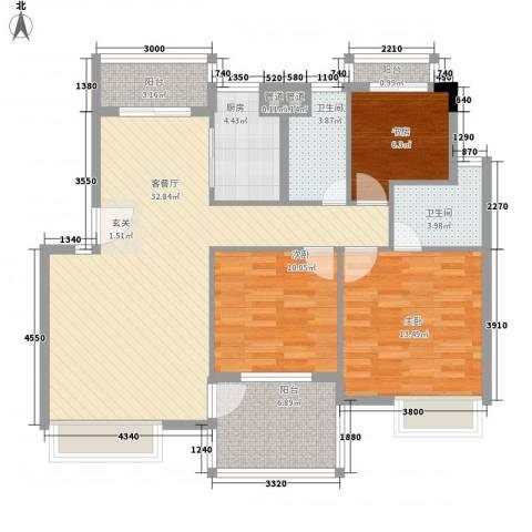 金水童话名苑3室1厅2卫1厨86.24㎡户型图
