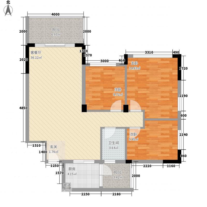 荔兴路社区户型图3室2厅户型图  3室2厅1卫1厨