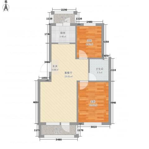 塞纳小镇2室1厅1卫1厨76.00㎡户型图