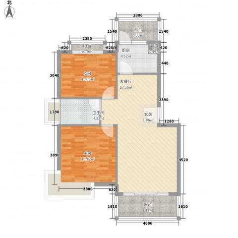 金水童话名苑2室1厅1卫1厨82.00㎡户型图