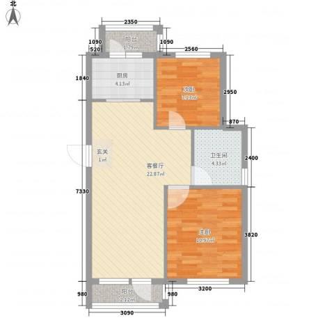 塞纳小镇2室1厅1卫1厨84.00㎡户型图