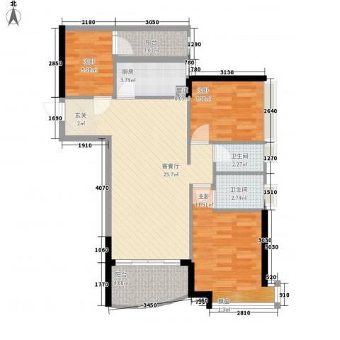 华景新城芳满庭园3室1厅2卫1厨96.00㎡户型图