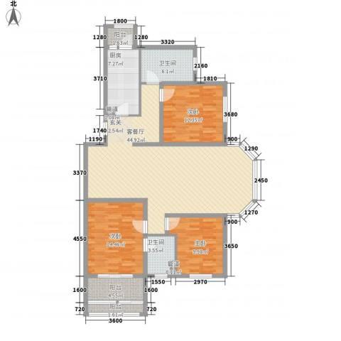 巴克寓所3室1厅2卫1厨134.00㎡户型图