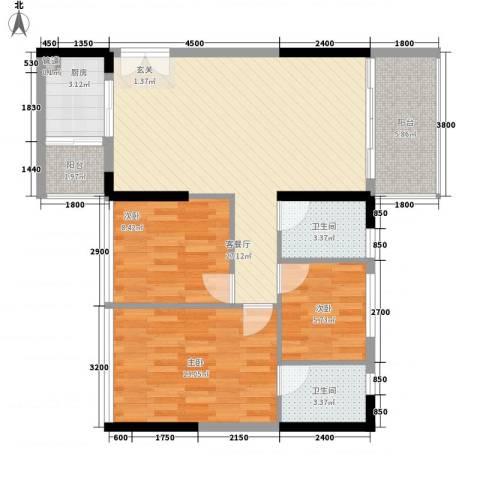 金碧丽江东第3室1厅2卫1厨72.11㎡户型图