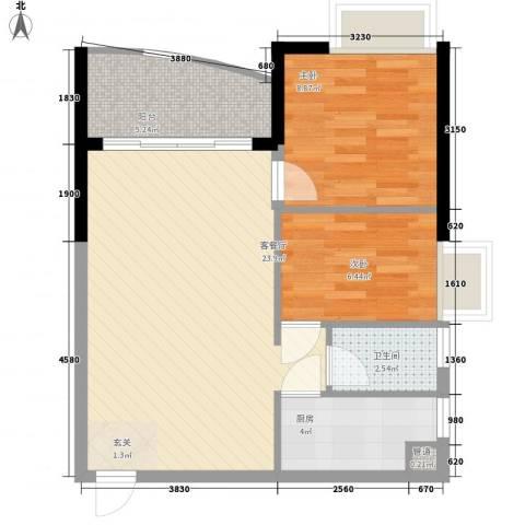 华景新城芳满庭园2室1厅1卫1厨74.00㎡户型图