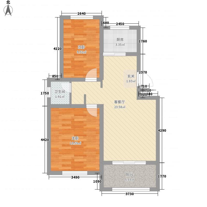尚东新城邦三期83.00㎡A户型3室2厅1卫1厨