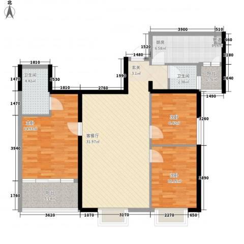 万寿新城3室1厅2卫1厨122.00㎡户型图