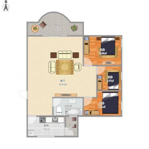 南景苑3室1厅1卫1厨123.00㎡户型图