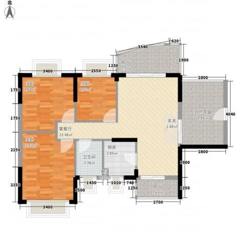 绿海名居3室1厅1卫1厨78.11㎡户型图