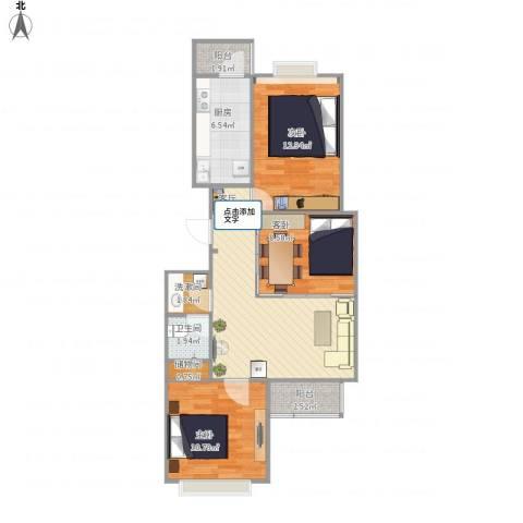 朝来家园3室1厅1卫1厨90.00㎡户型图