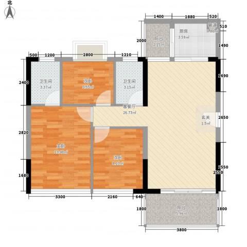 金碧丽江东第3室1厅2卫1厨72.74㎡户型图