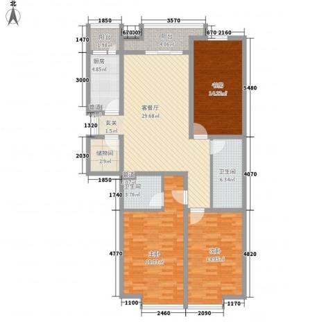 领地一期3室1厅2卫1厨136.00㎡户型图