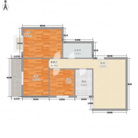 鼎新花园3室1厅1卫1厨106.00㎡户型图