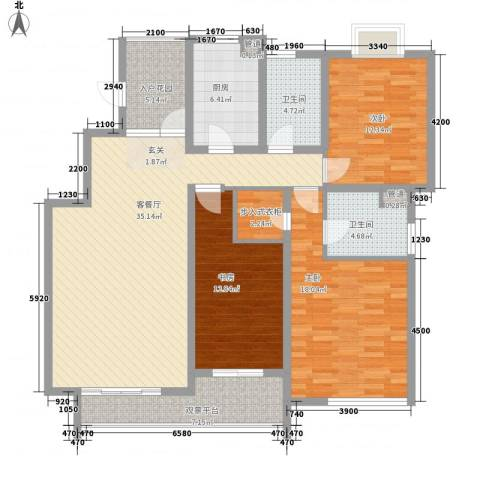 亚东同城印象3室1厅2卫1厨138.00㎡户型图