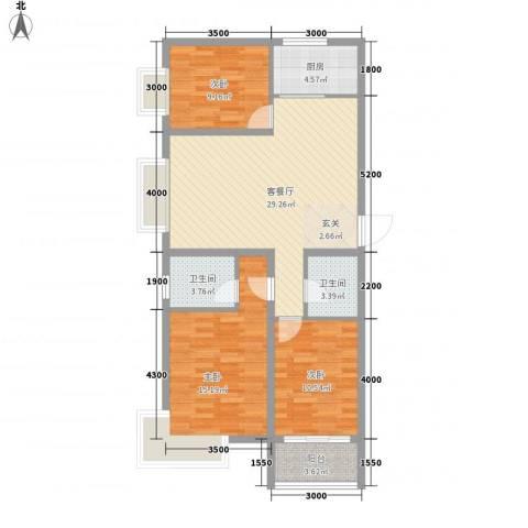 青橙时代3室1厅2卫1厨118.00㎡户型图