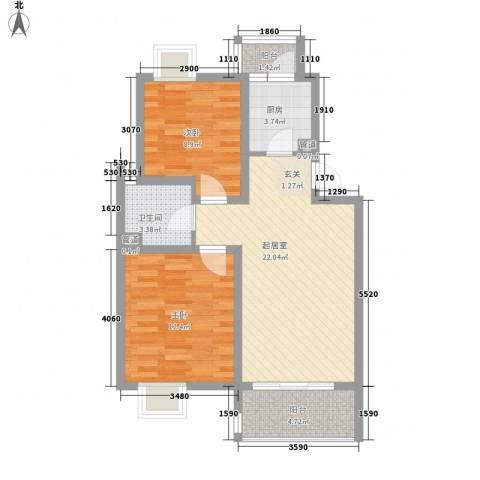 亚东同城印象2室0厅1卫1厨83.00㎡户型图