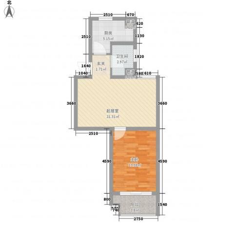 亚东同城印象1室0厅1卫1厨68.00㎡户型图