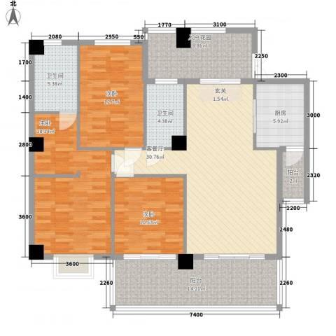 豪岗花园岗桥大厦3室1厅2卫1厨161.00㎡户型图