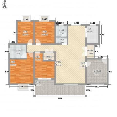 新天地豪庭4室1厅2卫1厨129.00㎡户型图